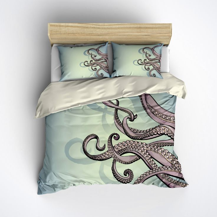 Featherweight Octopus Bedding -  Blue Green and Purple Octopus Printed on Cream - Comforter Cover - Octo Duvet Cover, Octopus Bedding Set by InkandRags on Etsy https://www.etsy.com/listing/246076295/featherweight-octopus-bedding-blue-green