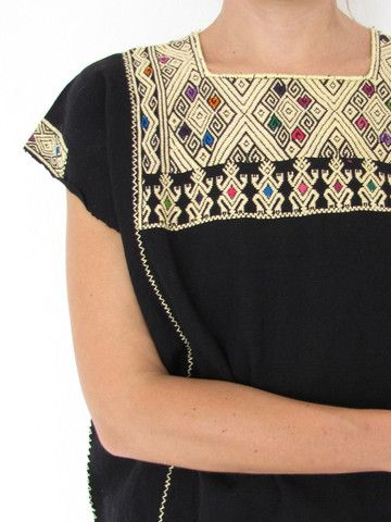 Mexican blouse made purely on the backstrap loom and later hand embroidered. www.chiapasbazaar.com