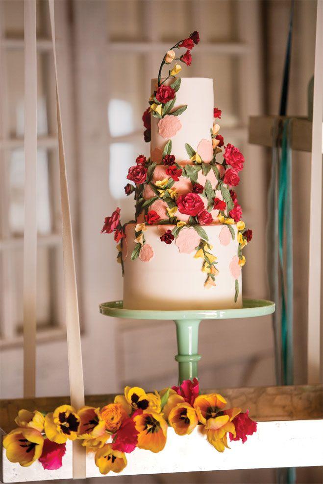 wedding cakes in lagunbeach ca%0A Gorgeous cake display featured on California Wedding Day