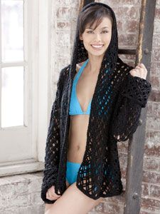 Party by the Pool Cover up with hood. Free pattern. Skill~intermediate.
