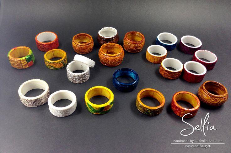 """Polymer Clay Ring Tutorial by selfia » Мастер класс """"Цельные текстурные колечки из полимерной глины, тонированны алкогольными чернилами и витражными красками"""""""