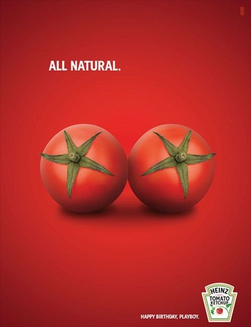 "Sex always sells, so comparing these tomatoes to breasts is a great selling tactic. Adding ""All Natural"" appeals to sex as well as the current trend in food of only eating naturally and organically."