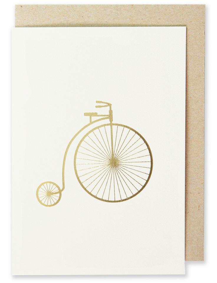 003 - Bicycle Greeting Card Metallic Gold Foil, Blank Interior  www.splendourvendor.com