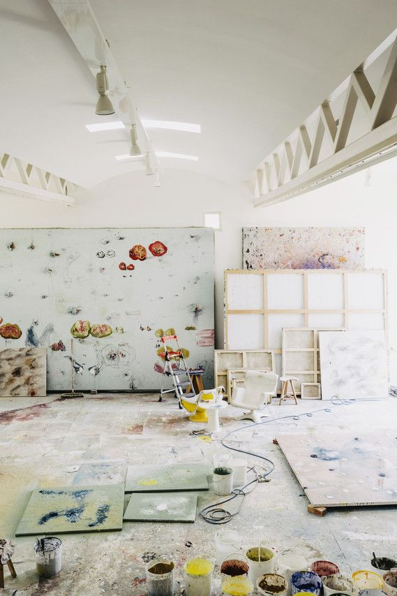 Miquel Barcelo's painting studio is the equivalent of two floors to accommodate his large projects.