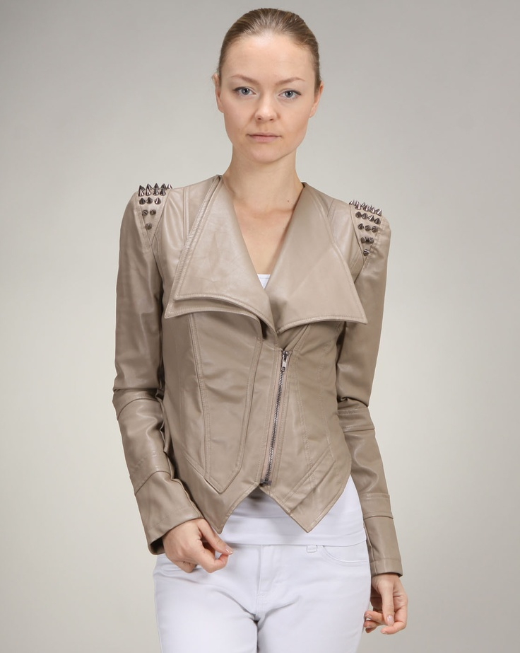 Cheryl says: Whether you get it in black or in taupe, this jacket is guaranteed to turn heads. The half zip detail in the front leads to the open double lapel. The back of the jacket is cropped with slight ribbing, while the sleeves are decorated with a cluster of silver studs.