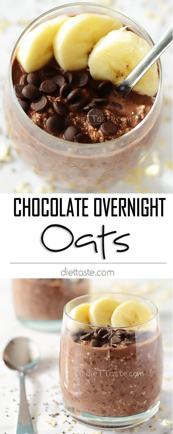 Chocolate Overnight Oats - with banana and chocolate chips; healthy, raw and super easy to make; my new favorite morning treat!