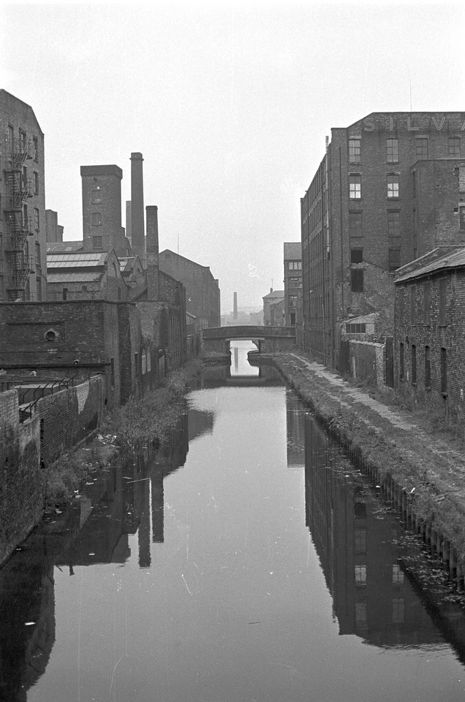 Post-industrial landscape of Ashton Canal, Ancoats, Manchester in 1978.