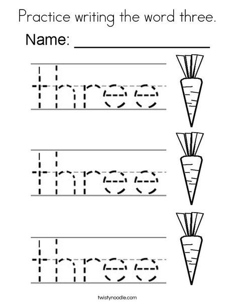 practice writing the word three coloring page twisty noodle