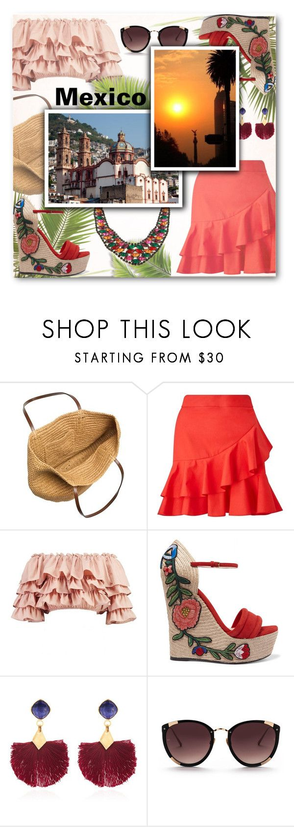 """""""Favourite Destination: Mexico"""" by matildiwinky ❤ liked on Polyvore featuring J.Crew, Miss Selfridge, Boohoo, Gucci, Ottoman Hands and Rebecca Taylor"""