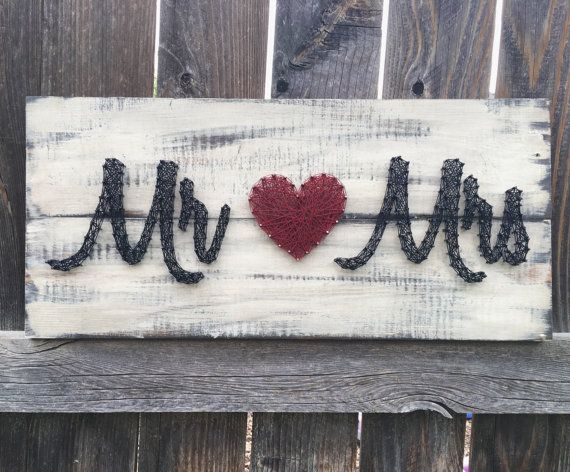 Mr. and Mrs. Sign- Nail and String Art Distressed Wood Sign – Rustic country wedding or Newlywed Gift