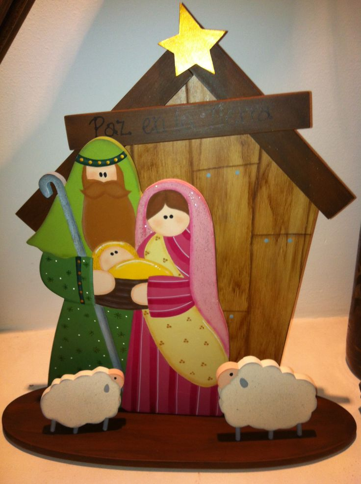 Country madera painting nativity para vidriera