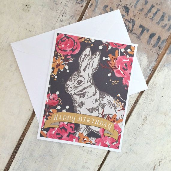 The Happy Birthday Bunny folded note card was created from my wee watercolour and pen-and-ink originals. We have a lot of bunnies that live in our