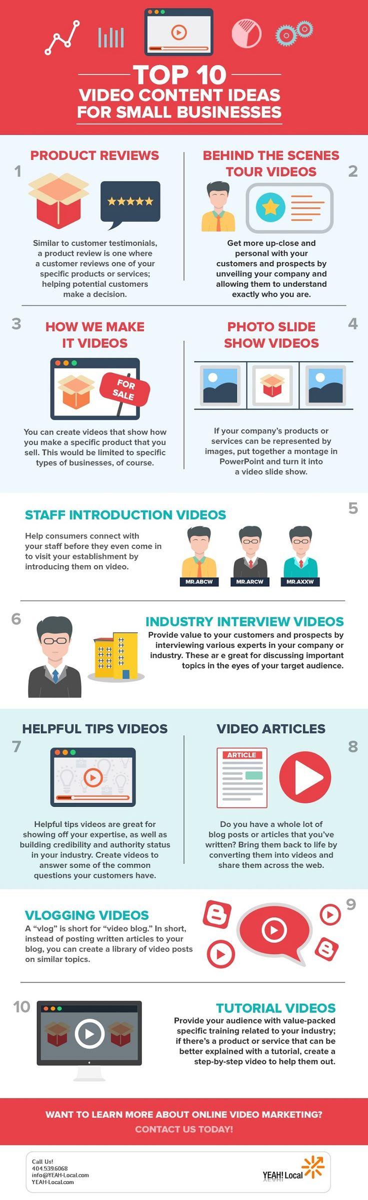 """YEAH! Local tarafından hazırlanan """"Video Marketing: Top 10 Video Content Ideas for Small Businesses"""" infografik çalışması, küçük işletmeler için video pazarlama tüyolarını 10 madde ile aktarıyor. Siz de küçük bir işletme sahibiyseniz bu ipuçlarından ilham alabilirsiniz.  #content #marketing #infografik #infographic #video #blog #vlog #socialmedia #dijitalpazarlama #pazarlama #infografik"""