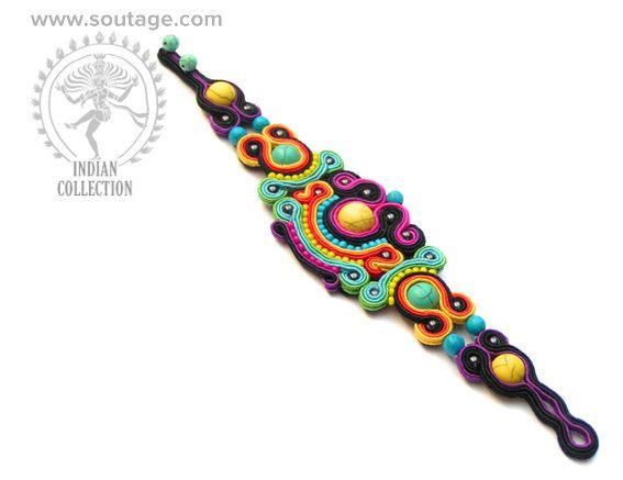 Mandalay handmade soutache bracelet with howlites by SoutageAnka