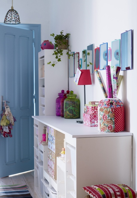 pretty hallway, love the mirrors: Crafts Area, Crafts Rooms, Blue Doors, Blue Wall, Candles Jars, Robins Eggs Blue, Storage United, Storage Ideas, Hallways Storage