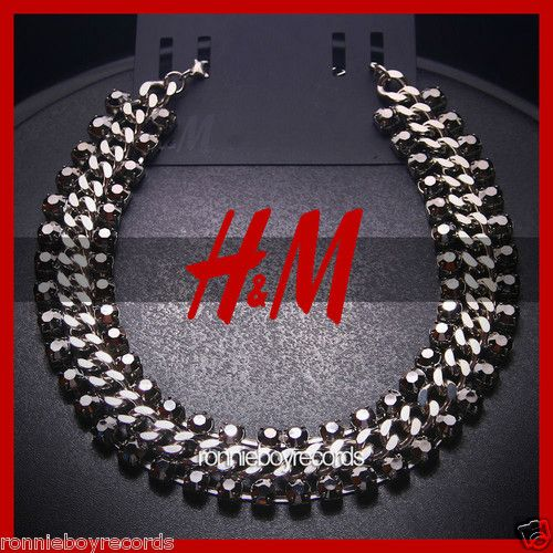 New Sold Out RARE H M Silver Rhinestones Gems Chunky Long Chain Necklace | eBay