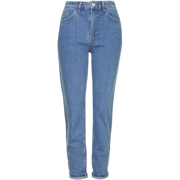 TOPSHOP MOTO Vintage Mom Jeans (1.210 ARS) ❤ liked on Polyvore featuring jeans, pants, bottoms, trousers, mid stone, vintage blue jeans, blue high waisted jeans, tapered fit jeans, topshop jeans and high waisted jeans