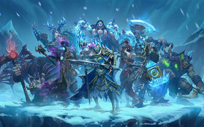 Descargar fondos de pantalla WoW, los Caballeros del Trono helado, 4k, héroes, World of Warcraft