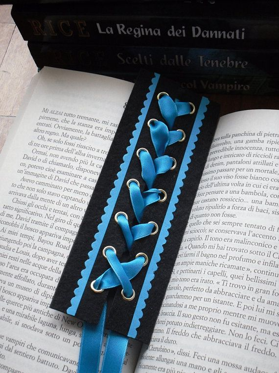 Gothic Corset Bookmark Dark Turquoise Satin Ribbon on Etsy, $6.75