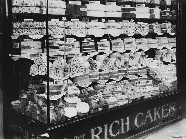 Front display window of G. E. Adams cake shop, Brisbane Arcade, ca. 1938 by State Library of Queensland, Australia, via Flickr
