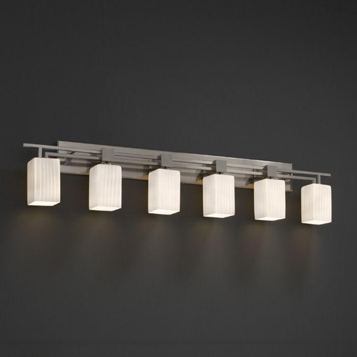 Justice design group fusion aero 6 light bath bar by justice design clean design - Justice design bathroom lighting ...