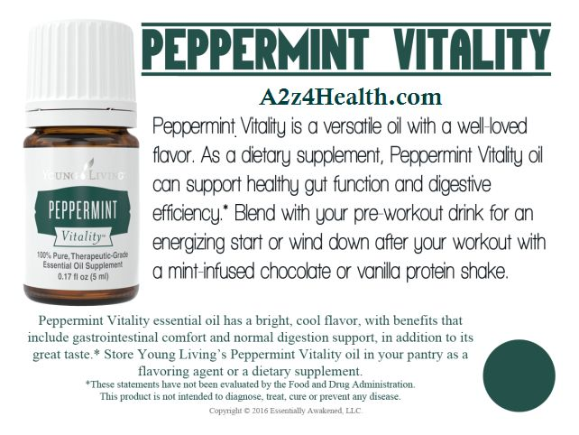 Peppermint Vitality™, part of our Vitality line for culinary and dietary use, is a versatile oil with a well-loved flavor. As a dietary supplement, Peppermint Vitality oil can support healthy gut function and digestive efficiency.   http://yldist.com/a2z4health/