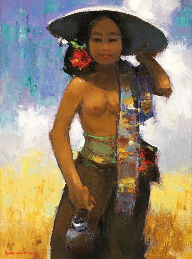Gerard Pieter Adolfs (Semarang, 1899 – The Netherlands, 1968) - Meisje Van Bali ( Girl From Bali), 1963.