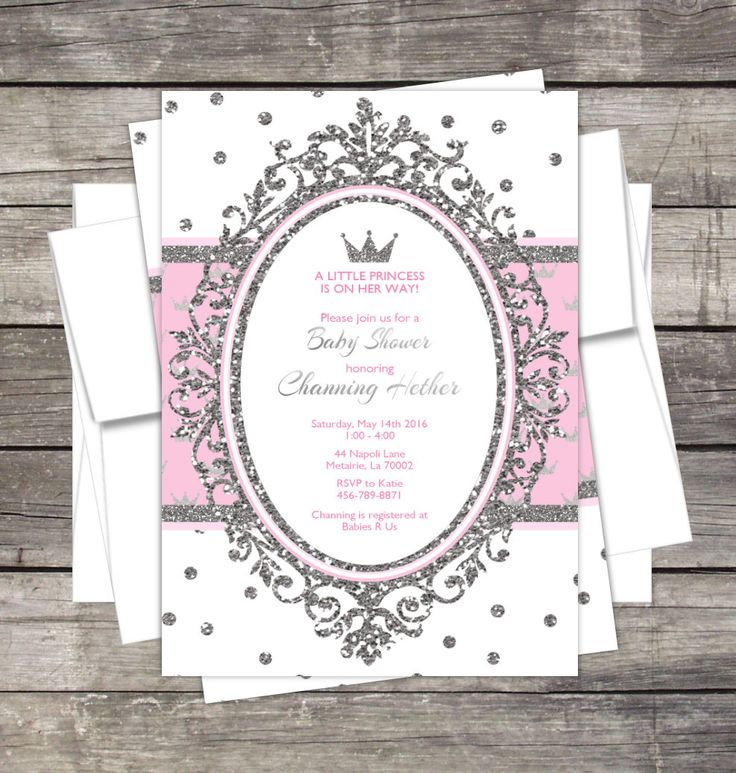 Real princesa bebé ducha invitación rosa o por PinkSugarPartyShop