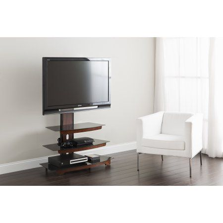 """Whalen 3-Tier Cherry Brown Flat Panel TV Stand for TVs up to 50"""" - Walmart.com"""