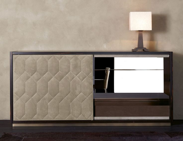 Nella Vetrina Rugiano Tatin 6072 Sideboard In Beige Upholstered Leather