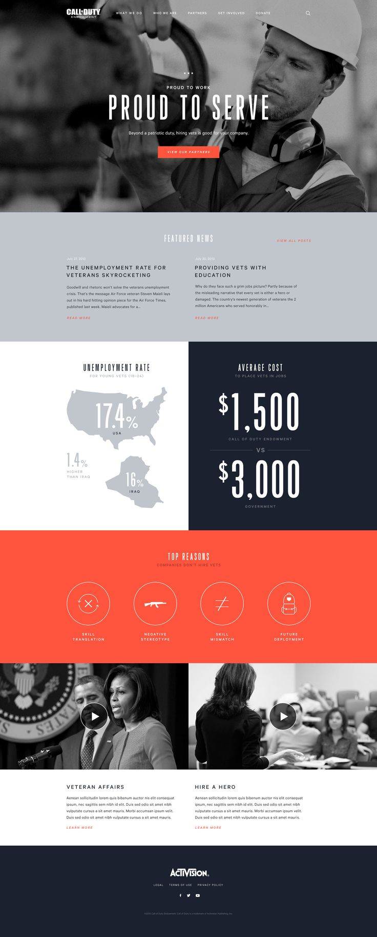 Proud to Serve Web Design Page by Lani Choi #bold #data #photos #clean #minimal #masculine #gray #navy #red #orange