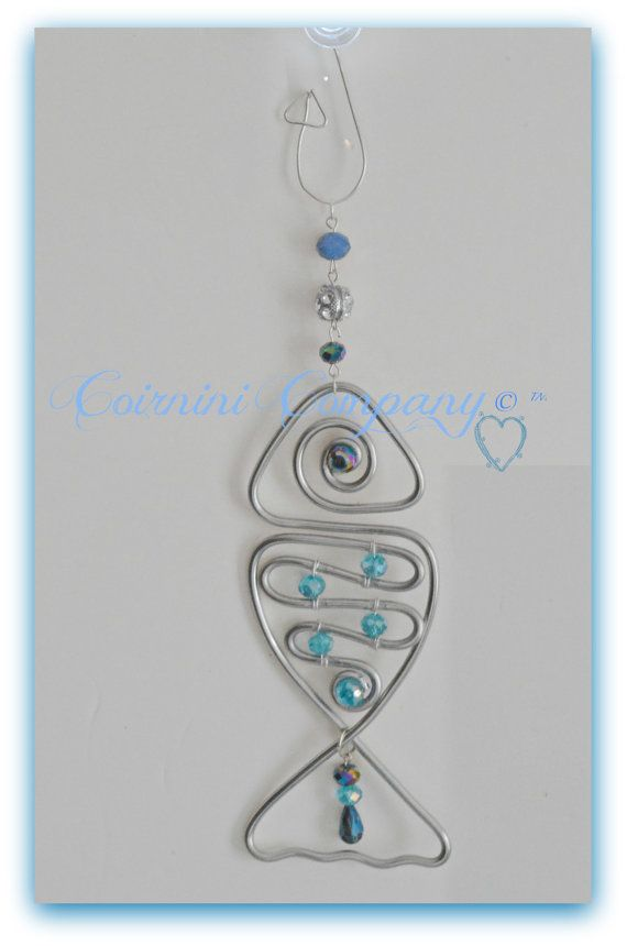 Sun Catchers, Sun Jewels, Fish Suncatcher , Silver, Wire suncatchers, Glass Beads, Sun-catchers Más