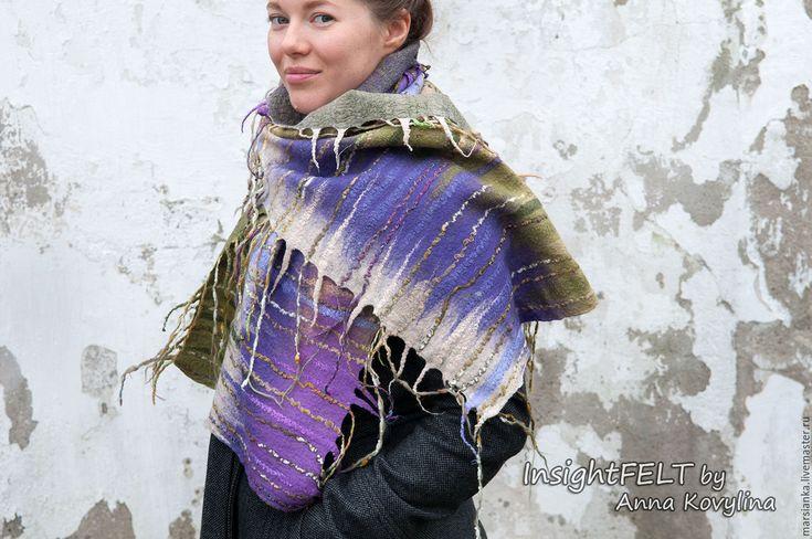 """Купить Войлочный шарф """"Лавандовые поля"""". - сиреневый, в полоску, лаванда, прованс, прованс стиль"""