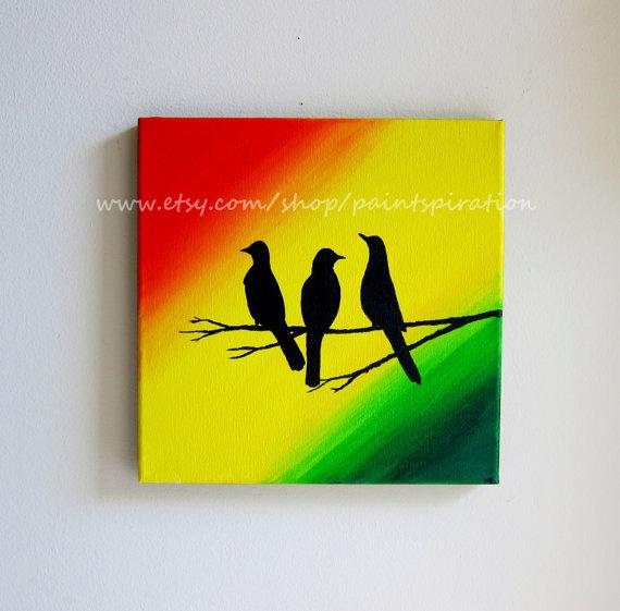 Bob Marley Three Little Birds Original Painting  by Paintspiration, $45.00