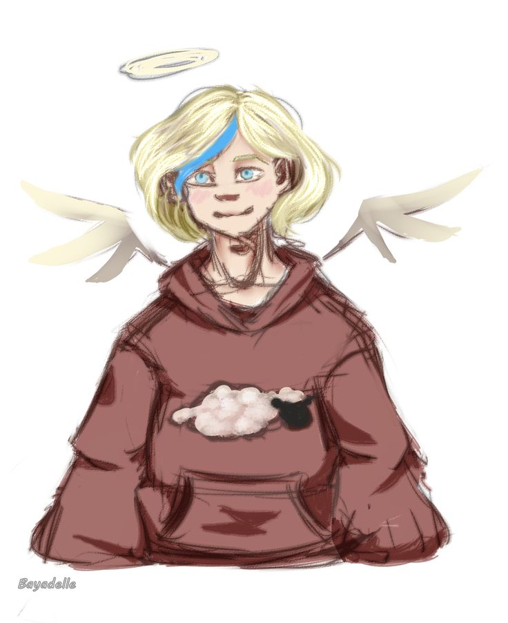 By Bayadelle on dA #art #cute #chibi #angel #sheep #sweater #jumper #blonde #kawaii #digital #digi #sketch #doodle