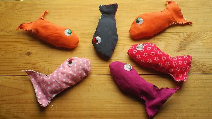 fabric fish with magnets for a game of fishing