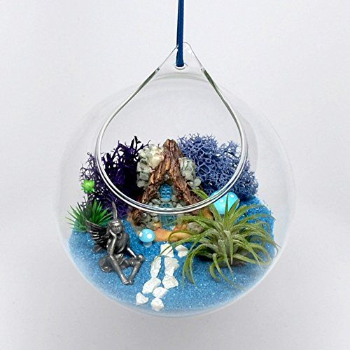 Pixie Glare Hanging Fairy Garden in a Glass Terrarium With Pewter Fairy Miniature Stone House Air Plant and More (Blue)