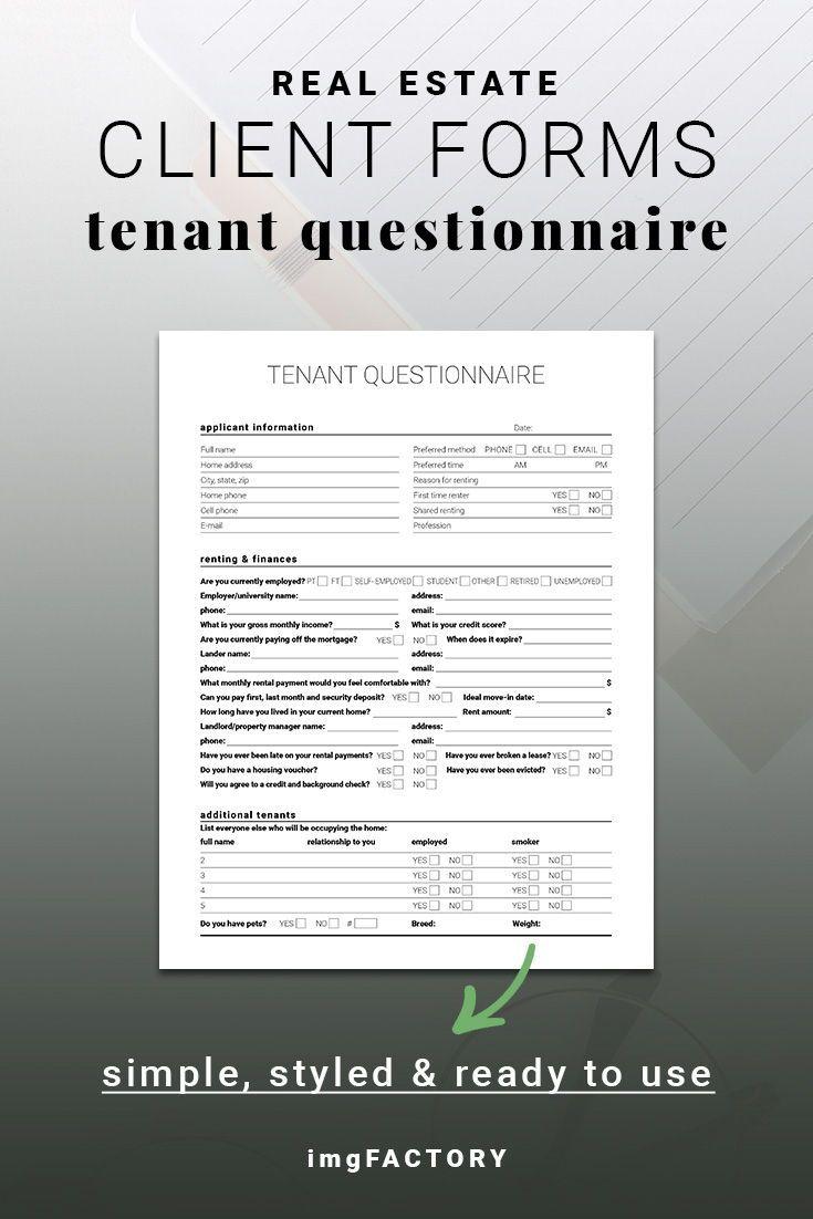 Real Estate Printable Tenant Questionnaire Renter Survey Client