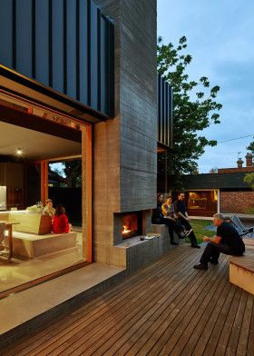 Make Architecture Local house inside outside fireplace