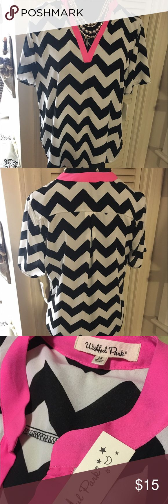 🌸NWT Wishful Park sheer chevron top🌸 Sheer black and white chevron top with hot pink trim at neckline. Great summer or office top.  Wishful park.  NWT.  Short sleeve. Wishful Park Tops Blouses