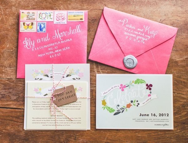 floral + pink wedding invitations // photo by Nessa K // paper goods by Minted