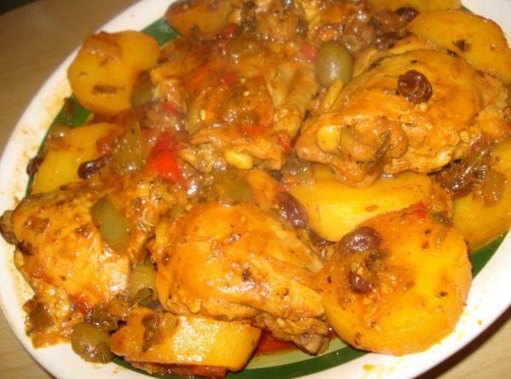 When my grandmother made this comfort chicken dish even our neighbors would make an excuse to come by. The aroma of  Chicken Fricasee was intoxicating. Fragrant chicken and potaotes in a sauce dimpled with olives, capers and raisens, covered in a sauce to die for. Be sure to have enough crusty bread to sop up the sauce. This dish has not changed done the same way by my great grandmother. It is another authentic Latino dish.  Enjoy