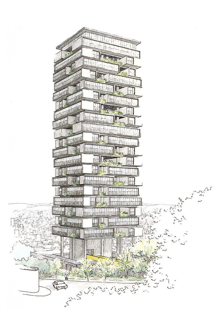 Perspectiva do Edifício 360º, projeto do escritório do arquiteto Isay Weinfeld para a Idea Zarvos! Caneta de nanquim e lápis de cor, 30 x 45 cm, 2012. / daniloz