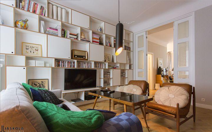 interior design, bookshelve , plywood, livingroom, vintage