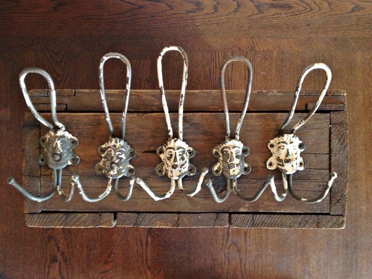 Vintage Coat Rack Wall Hanger Metal Hooks Rustic Home Hallway Clothes