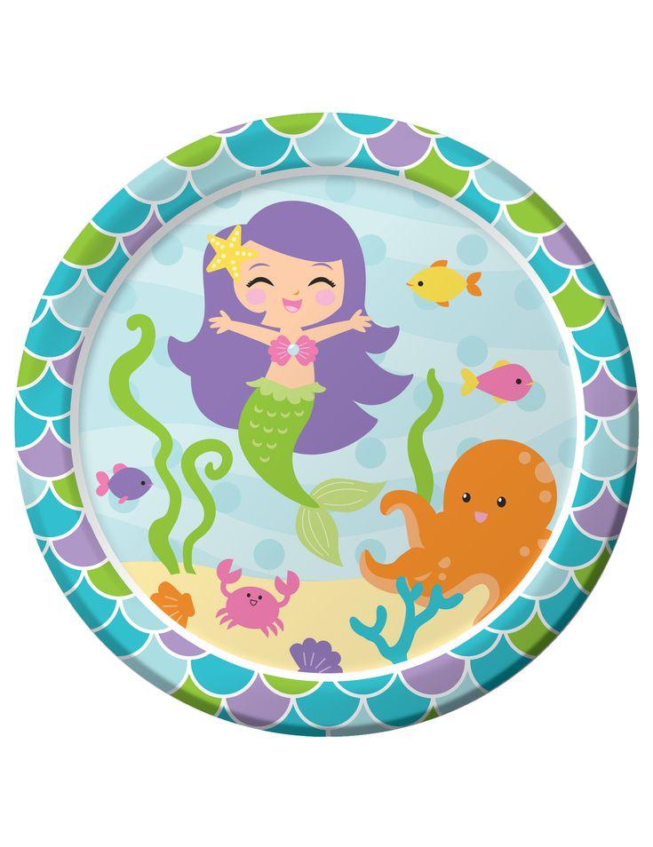 8 piatti di cartone sirena 23 cm su VegaooParty, negozio di articoli per feste…