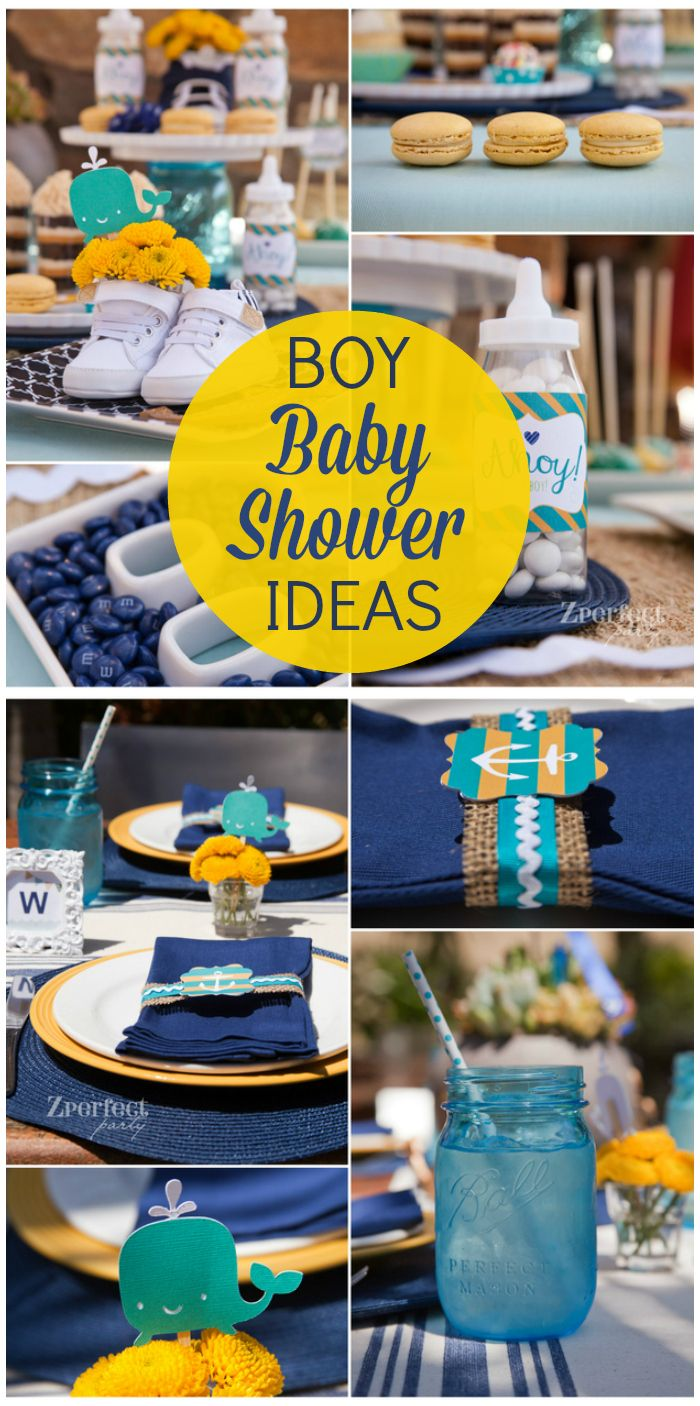 A gorgeous blue, green and yellow boy baby shower with a nautical theme! See more party ideas at CatchMyParty.com!