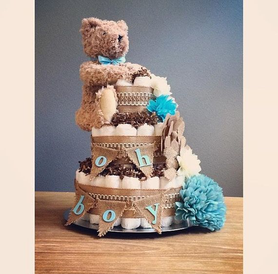 Oh Boy Rustic shabby chic diaper cake with by JennyKnickDesigns
