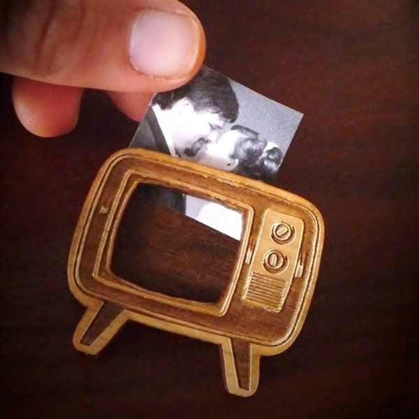 Wood TV brooch! So vintage cute