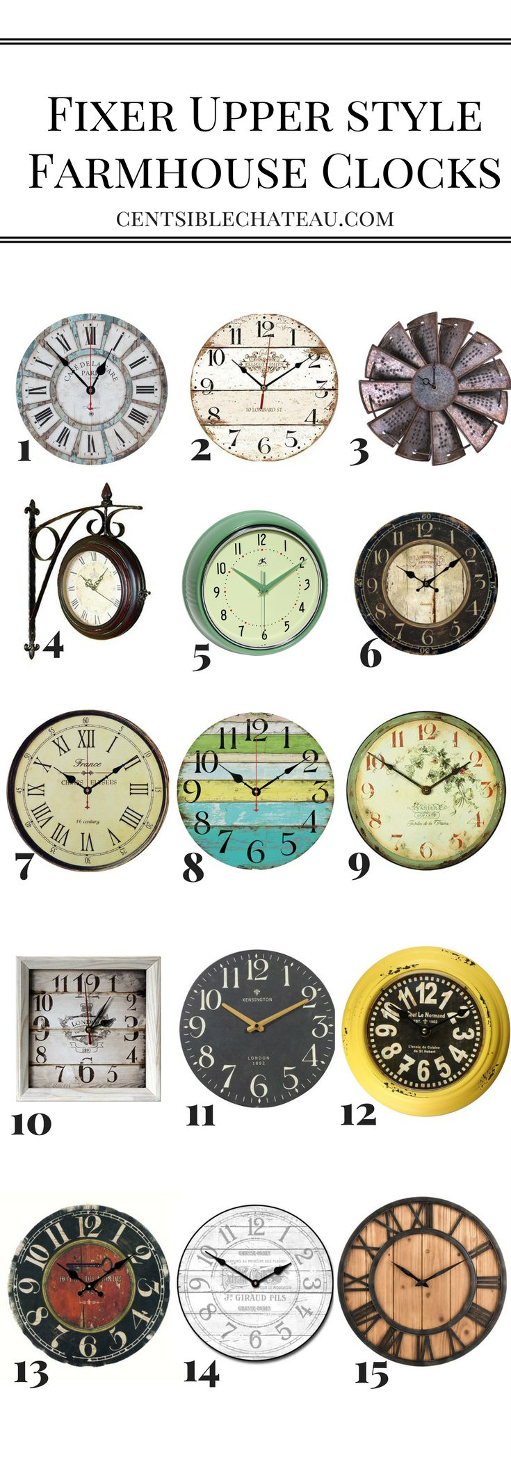 Fixer Upper Style Farmhouse Clocks - Centsible Chateau